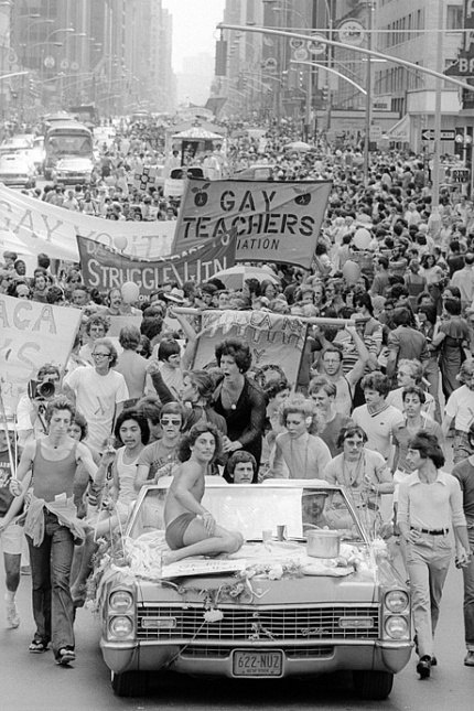 Following the 1969 Stonewall Inn riot in Greenwich Village, gays and lesbians launched an annual pride parade up Sixth Avenue. By the early 70s, it had become quite the event. By Allan Tannenbaum/Polaris.