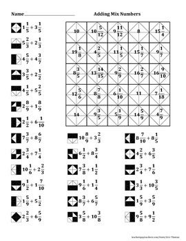 Adding Mixed Numbers Color Worksheet Reading
