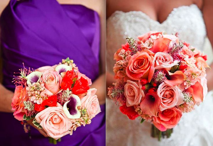 Coral & Purple Wedding..WOAH. I didn't think these colors went together!!! Possible wedding scheme? :)