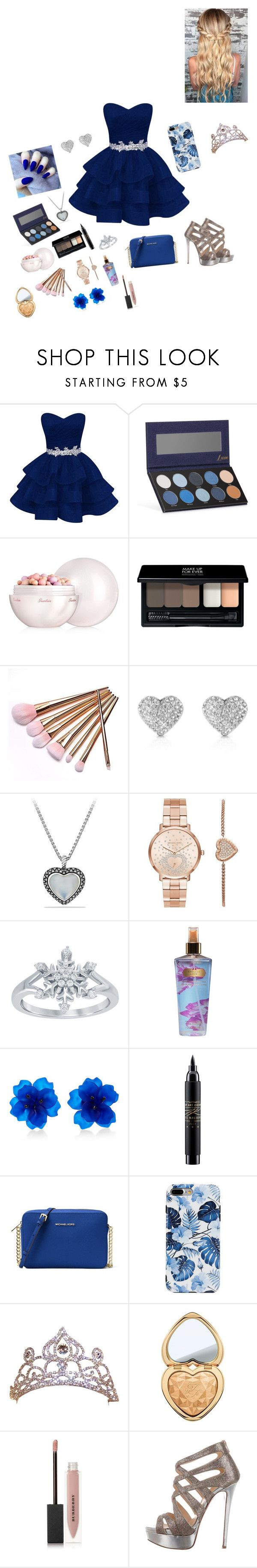 """Homecoming Queen"" by princessmalfoy16 ❤ liked on Polyvore featuring Luxie, Guerlain, MAKE UP FOR EVER, Michael Kors, David Yurman, Disney, Victoria's Secret, Matthew&Melka, MAC Cosmetics and MICHAEL Michael Kors"