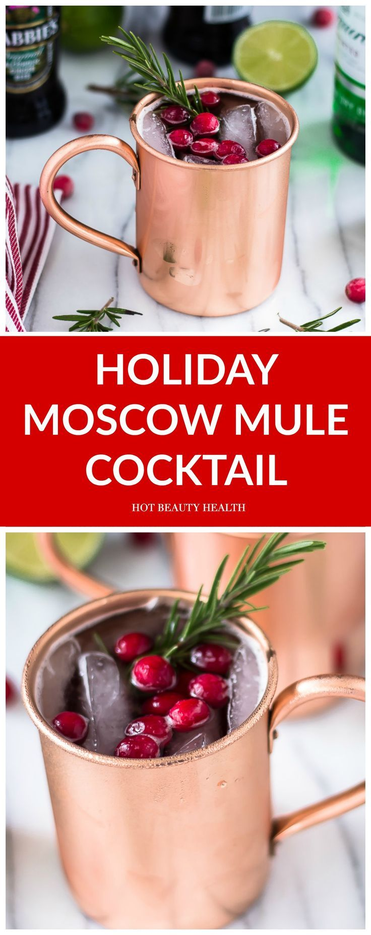 Get in the Seasonal Spirit With This Holiday Spin on the Moscow Mule drink cocktail. Made with cranberries, ginger beer, and vodka. The perfect holiday drink to sip during Thanksgiving and Christmas. (Click here for recipe!)