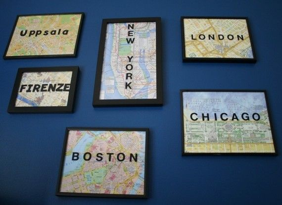 maps. @Ashley Walters Veazey I feel like you should collect the old street maps of all the cities you have visited and do something like this for your wall