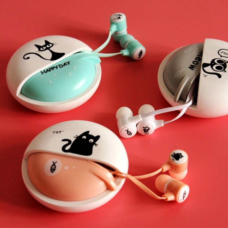 Cute cartoon cat iphone 3.5mm In ear/earbuds Stereo Headset