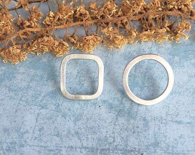 Asymmetric stud silver earrings - open square and circle -geometric jewellery - minimalist contemporary jewelry  Handmade by Carla Amaro