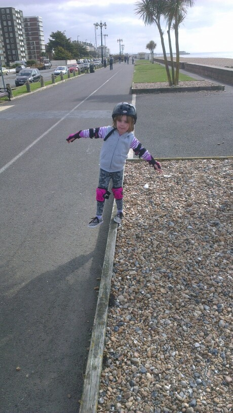 Getting to grips with some balance practice on worthing seafront. Sunday 5th May 2013