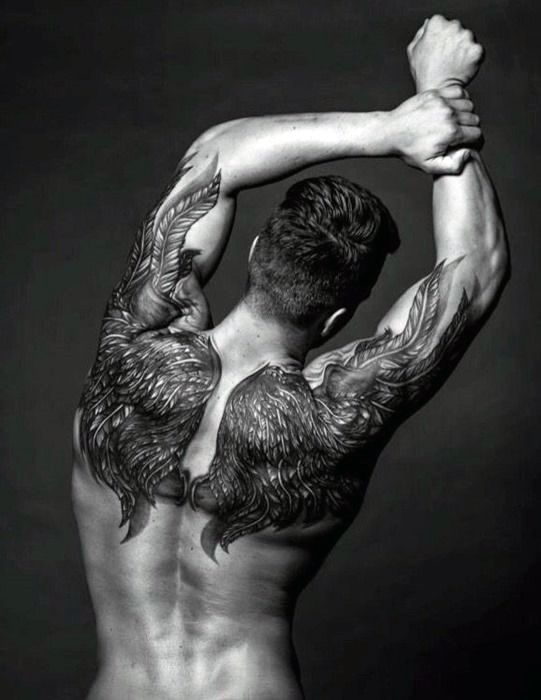 Men's Back Angel Wings Tattoos