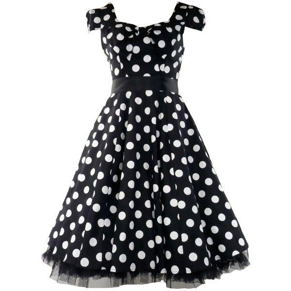 50's Vintage Tea Prom Dress Big Polka Dot Black & White ($59) ❤ liked on Polyvore featuring dresses, vestidos, black, polka dots, cap sleeve dress, white and black dress, cap sleeve prom dress, tea party dresses and vintage dresses