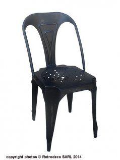 Chaise industrielle m tal noir antique d co industrielle - Chaise industrielle ancienne ...