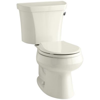 Kohler Wellworth Two-Piece Round-Front 1.6 GPF Toilet with Class Five Flush Technology, Right-Hand Trip Lever and Tank Cover Locks Finish: Biscuit