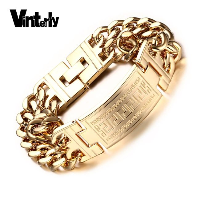 Vinterly Men's 316l Stainless Steel Jewelry. Great Wall Pattern, Gold Color Double Hand Chain Men Bracelet Bangle For Male