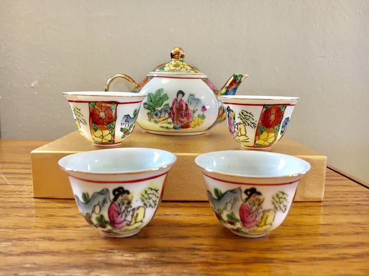 A personal favorite from my Etsy shop https://www.etsy.com/listing/522621743/vintage-miniature-asian-tea-set-geisha