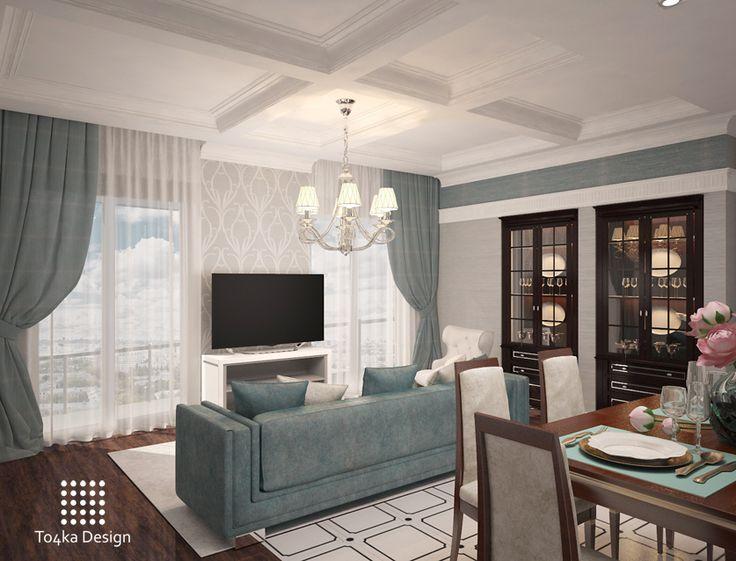 Изюминка интерьера - контраст темного и белого, гламурный блеск в бархате текстиля и обоев и геометрические акценты в архитектурных формах. #дизайн #интерьер #дизайнинтерьера #декор #ардеко #ремонт #проект #дизайнпроект #гостиная #design #interior #interiordesign #decor #livingroom #artdeco #неоклассика