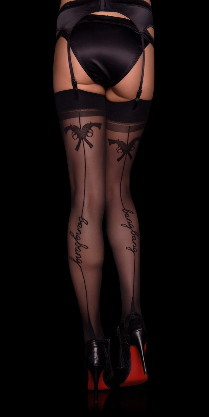 Honey Birdette black back seam bang bang gun stockings. This is awesome.