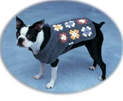 Granny Square Dog Sweater. With the actual link unlike the fake one that's been posted around pinterest. Free Crochet Pattern.