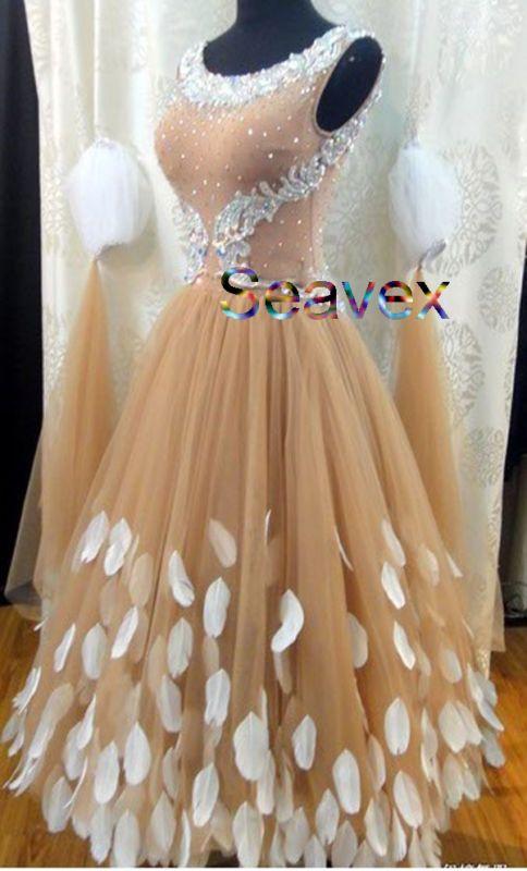 женщин бальные гладкий вальс танго танец платье США 12 UK 14 плоть белый цвет
