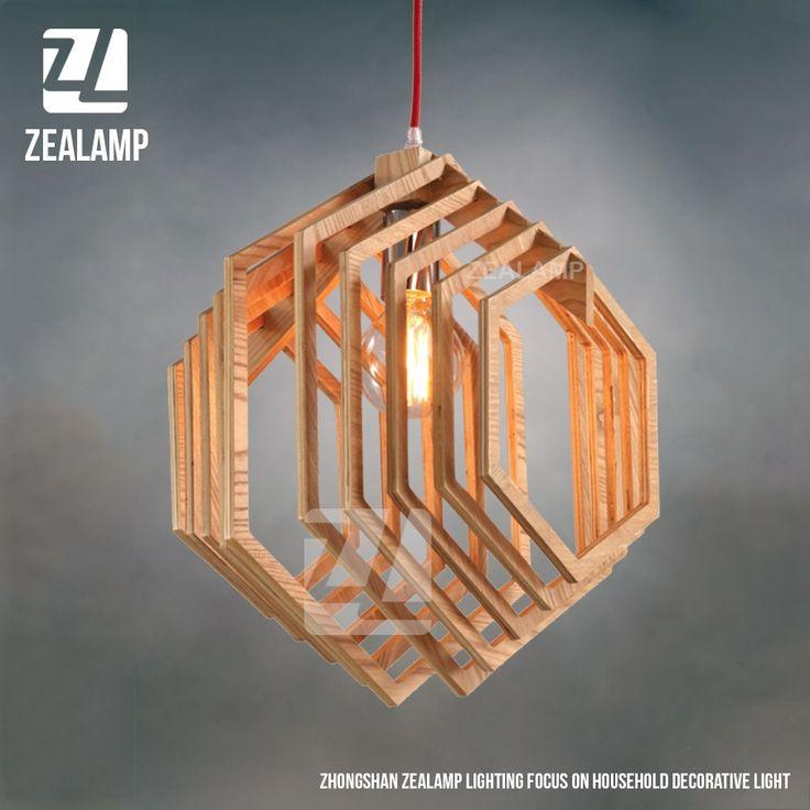 Nordic Creative Brief Wooden Pendant Lamps Hexagon Shape Living ...