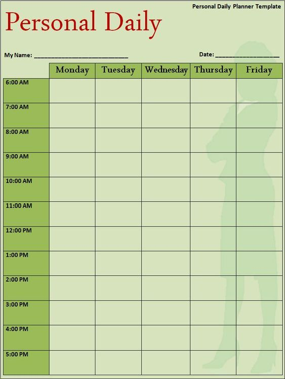 Personal Daily timetable Templates #timetable #timetabletemplates