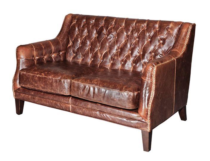 Шикарный кожаный диван London. Этот диван станет яркой изюминкой любой комнаты. Высота сиденья 48 см.             Метки: Маленькие диваны.              Материал: Дерево, Кожа натуральная.              Бренд: Restoration Concept.              Стили: Лофт.              Цвета: Темно-коричневый.