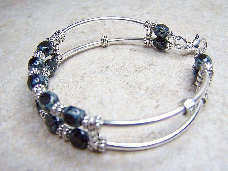 memory wire bracelets | Memory Wire Bracelet, Black Glass Cuff Bracelet. ... | Jewelry Desig ...