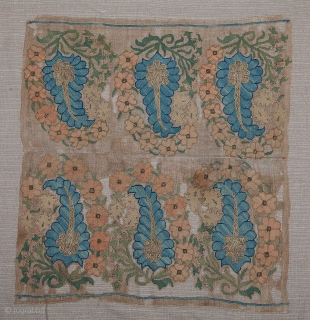 Ottoman Embroidery Fragment.. Backed on cotton fabric... 49 x 46 cm / 19 x18 inches