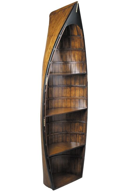 boat bookcase | Clinker build gig boat adds flair and atmosphere to any room, and display shelves turn them into fun cabinets and bookcases