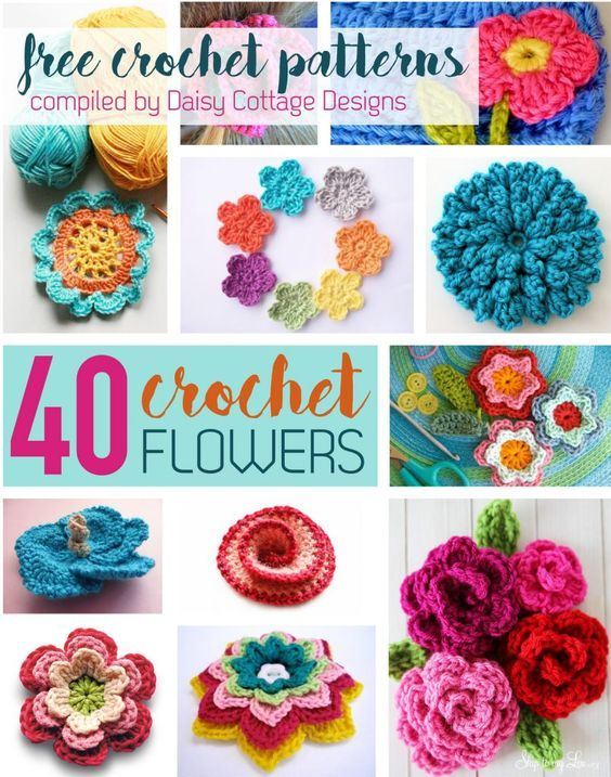 40 Free Crochet Flower Patterns compiled by Daisy Cottage Designs: