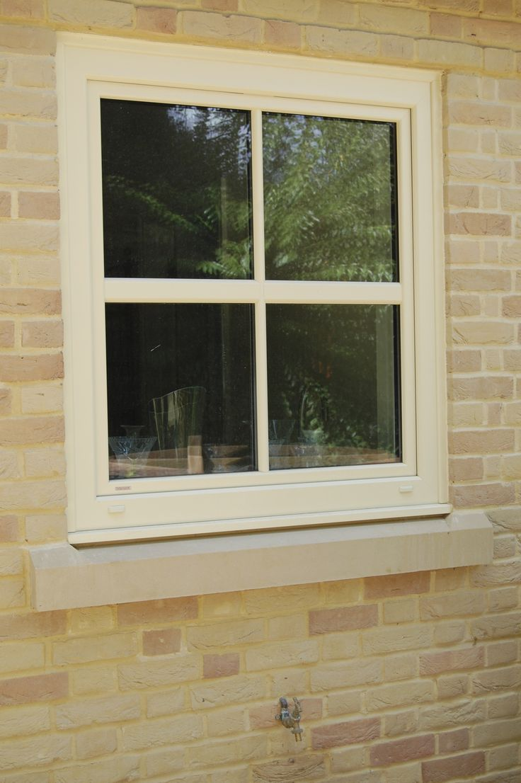 KF200 Upvc/Aluminium Clad windows specified in RAL1015 and designed to mimic a sliding sash window.