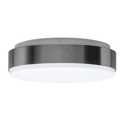 Hampton bay 11 in 100 watt equivalent brushed nickel bright white round integrated led flushmount ceiling light fixture