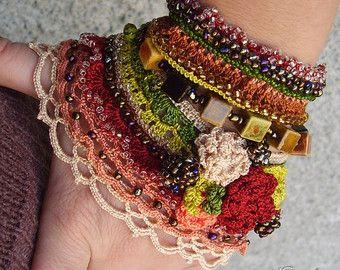 Crochet lace cuff Crochet bracelet Crochet by KSZCrochetTreasures