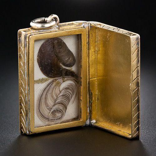 Victorian mourning hair jewelry locket box