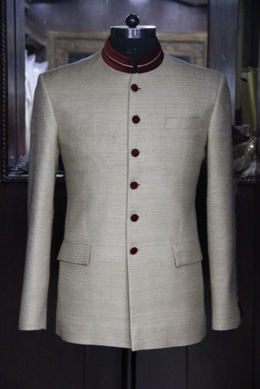 Beige Bandh Gala with brown velvet detailing