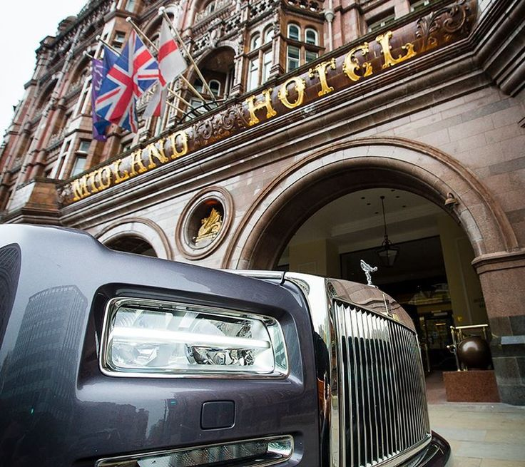 Phantom joins several heritage Rolls-Royces outside the Midland Hotel in Manchester where Charles Rolls first met Henry Royce 110 years ago on May 4th 1904.