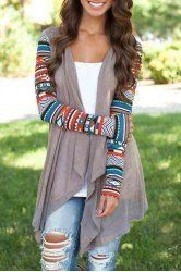 Vintage Patterned Long Sleeve Irregular Cardigan For Women (GRAY,M) | Sammydress.com Mobile