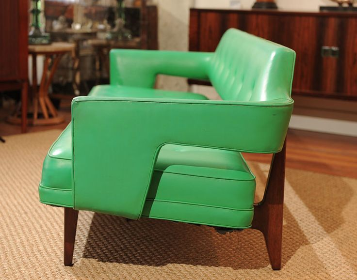 1950s Dunbar Sofa | Design: Edward Wormley for Dunbar | Refinished Mahogany Base and Original Electric Green Leatherette Via