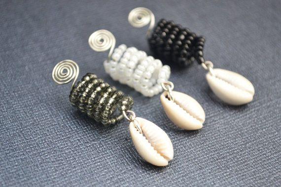 Dreadlock Jewelry, Black Loc Jewelry, White Dreadlock Accessory, Gray Dread Bead with Cowrie Shell