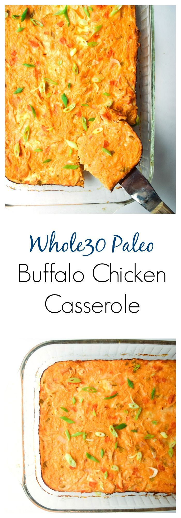 Buffalo Chicken Casserole (Whole30 Paleo) - this comforting casserole will have everyone going back for seconds. Huge flavor and only clean ingredients!   tastythin.com