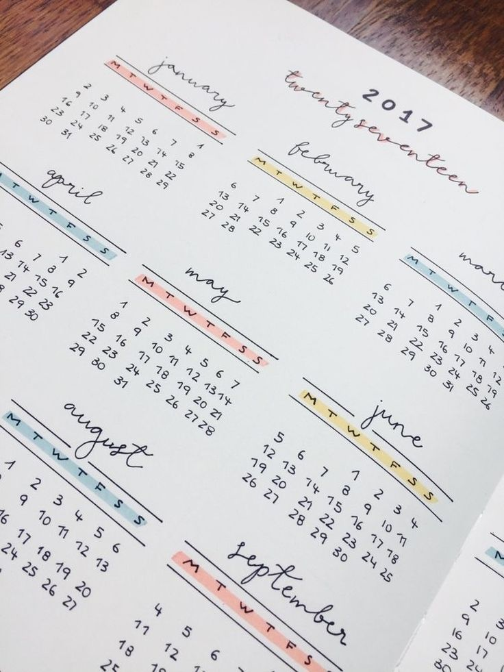 Yearly calendar bullet journal layout with mildliners