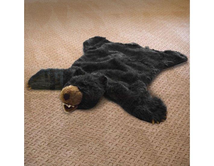 36in Black Bear Plush Faux Animal Skin Rug