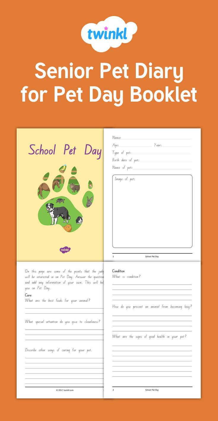 Senior Pet Diary for Pet Day Booklet