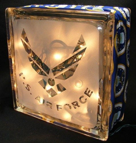 sandblasted Air Force glass block light | WalshDesigns - Housewares on ...
