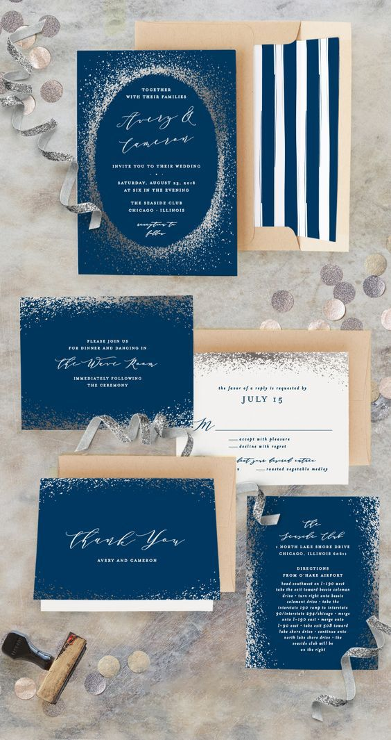 Blue and gold wedding invitations with stripes