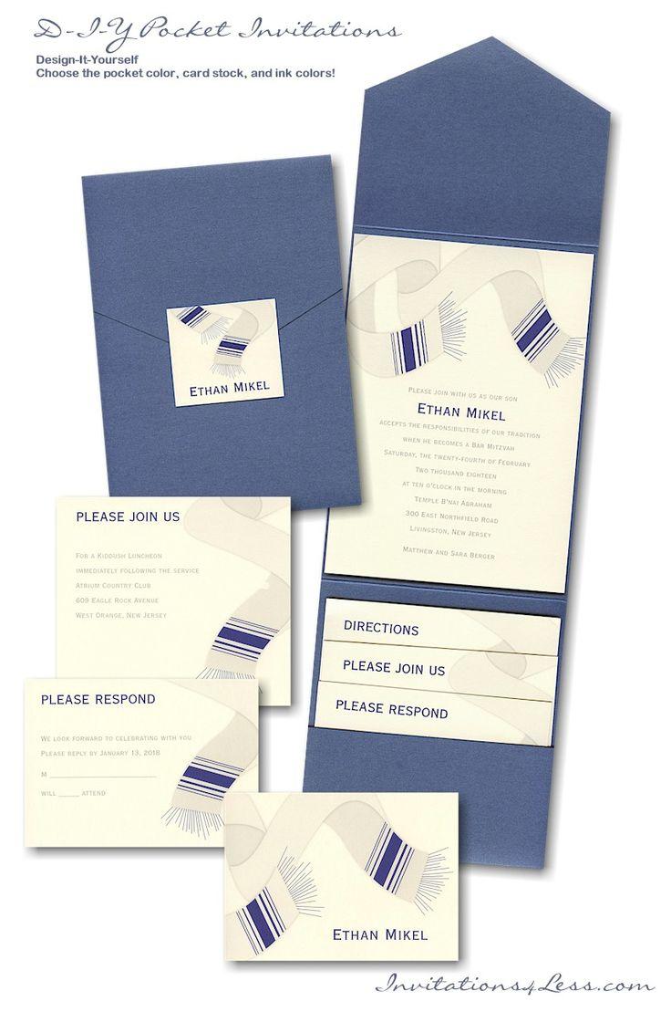 28 best bar mitzvah bat mitzvah invitations images on pinterest diy pocket bar mitzvah invitation suite s60 solutioingenieria Choice Image