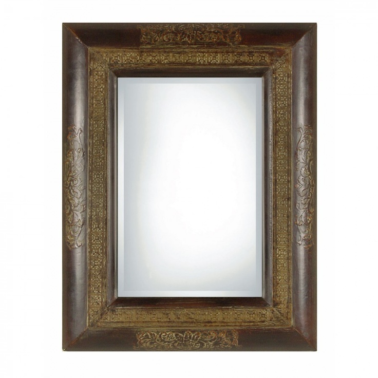 Uttermost Palesa Rectangular Beveled Mirror In Rustic Black And Brown 09006 B Framed Mirror