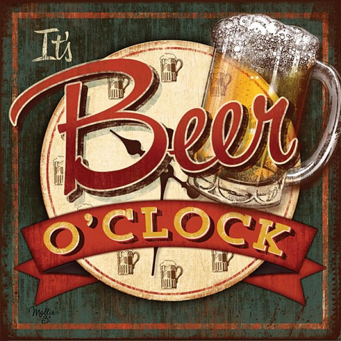 It's Beer O'Clock canvas by Mollie B.