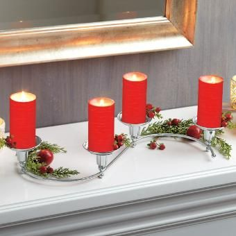 Holiday centerpiece idea, Quartet candle holder with polished nickel finish by PartyLite® Candles P91450