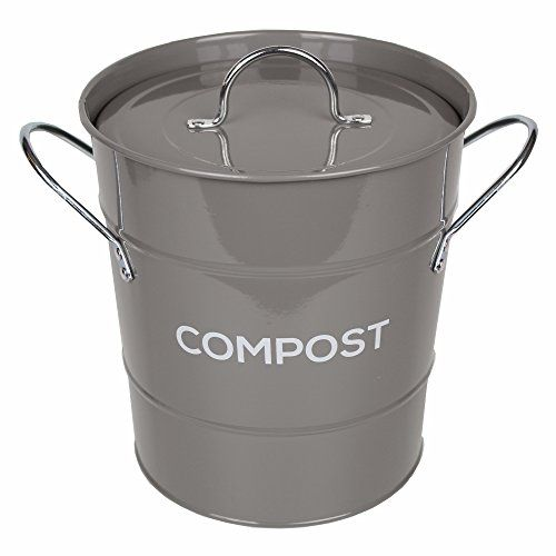 dark grey metal kitchen compost caddy composting bin fo https