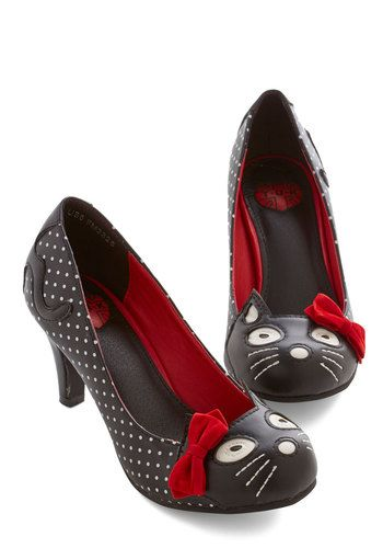 1950s Shoes: New 1950s Style Shoes for Sale -Meow's the Time Heel from ModCloth $64.99   #shoes #1950sfashion #cuteshoes
