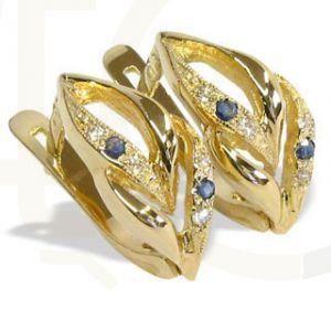 Kolczyki z żółtego złota z szafirami i cyrkoniami IAG-6Z-R-SZA/C