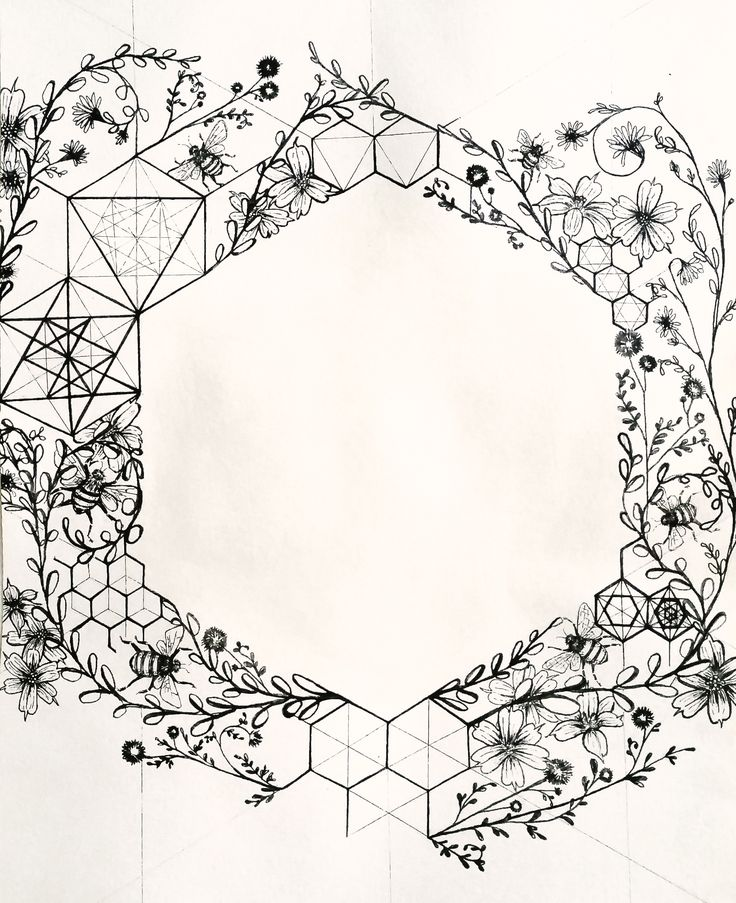 The hexagon. Honeybee's sacred structure. Illustration by Leiko Aguinaldo.