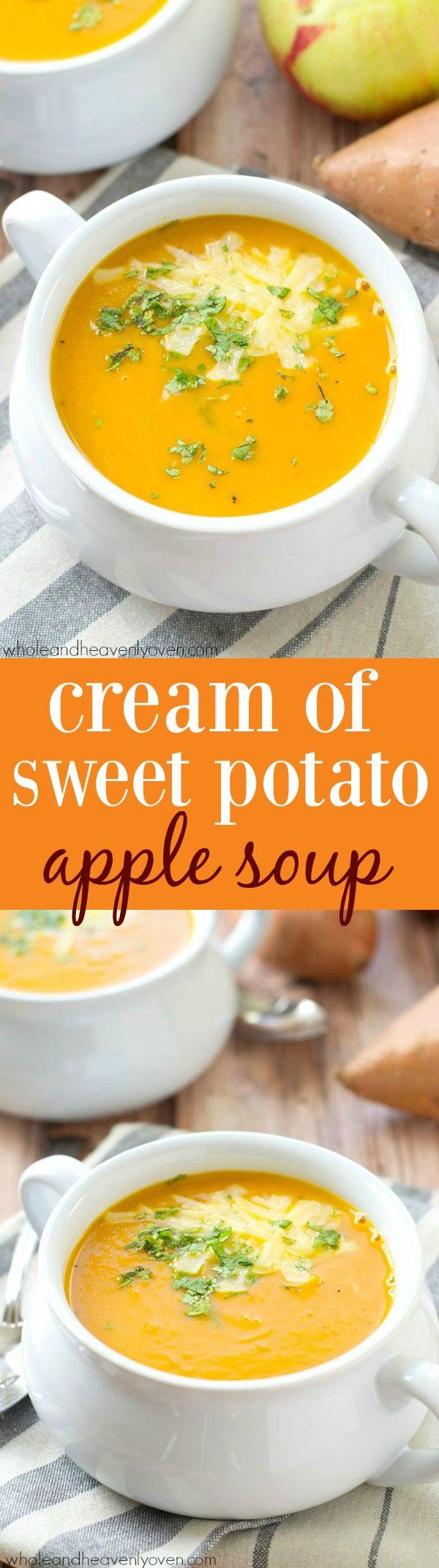 Kadife şekli pürüzsüz ve tatlı patates ve elma çeşnileri ile dolu bu sonbahar aromalı krema çorbası, soğuk bir günde nihai bir ısınmaya sahip!  @WholeHeavenly